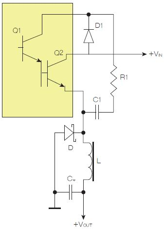 图1:为了实现用两个元器件提升电源转换效率,芯片上应有针对驱动器晶体管Q1集电极的单独引脚。
