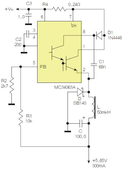 图2:采用降压配置中广为使用的MC33063/MC34063的一个示例。